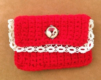 unique gifts fo women, red crochet cosmetic bag - crochet purse - crochet handmade make up bag - red cosmetic bag - travel bag - vanity bag