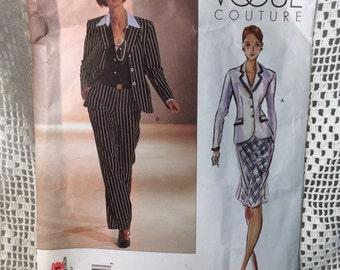 Vogue Couture Suit Pattern, Vogue 2631, Jacket, Pants and Skirt, Size 18, 20, 22