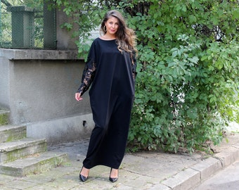 Black Maxi dress, Abaya, Caftan, Plus size clothing, Kaftan, Fall winter dress, Evening dress, Party dress