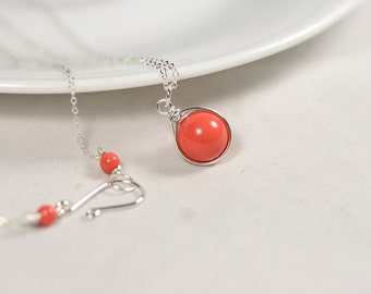 Coral Necklace Wire Wrapped Jewelry Handmade Sterling Silver Jewelry Handmade Swarovski Pearl Necklace Orange Coral Necklace Orange Necklace