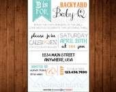 Printable Backyard BaBy-Q Couple's Baby Shower Invitation. New Baby. Bar B Que Party Invitation. Unisex Baby Shower Invite. Baby Que.