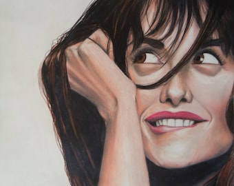 Original Penelope Cruz portrait - Original artwork - Colored Pencil drawing - Penelope Cruz - Gifts for her - Movie artwork - Home decor