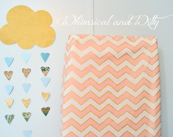 Pink and Gold Chevron Changing Pad Cover or Fitted Crib Sheet