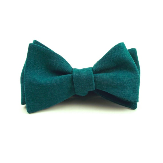 teal bow tie teal blue green linen bowtie green bow
