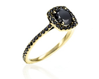 Almost Eternity Yellow Gold & Black Diamond Ring