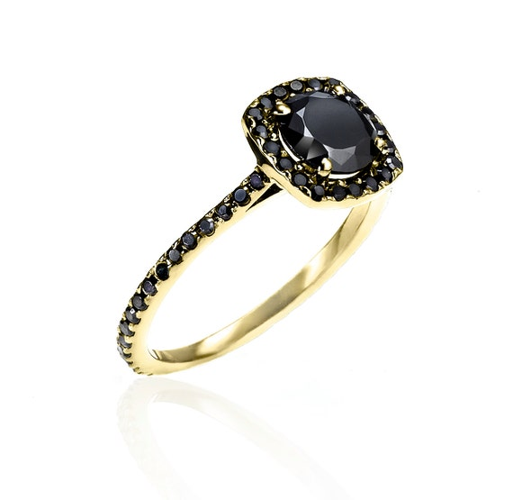 almost eternity yellow gold black ring