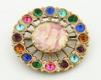 Unique vintage brooch, Multicolor rhinestone brooch, Religious brooch, Christian brooch, Cameo brooch, Cameo pin, Rainbow brooch