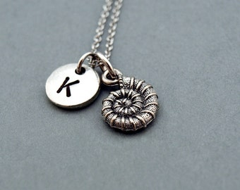 Nautilus necklace, Nautilus Shell charm, initial necklace, initial hand stamped, personalized, antique silver, monogram