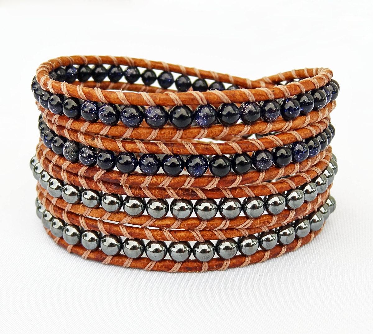 beaded leather wrap bracelet leather and bead bracelet