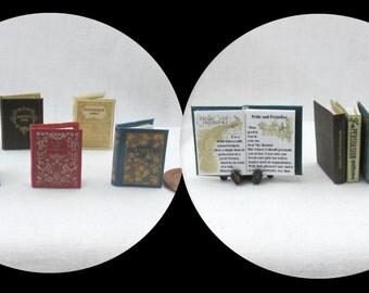 Miniature Book -- JANE AUSTEN Miniature Book SET of 6 Readable Illustrated Dollhouse 1:12 Scale  Books