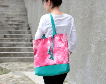 Large Pink and Turquoise Hand Dyed Cotton and Vegan Leather Tote Bag with Tassels