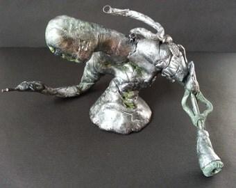 Silver Matrix Biomech Sculpture Mixed Media Metal Giger Art Doll Android Alien OOAK