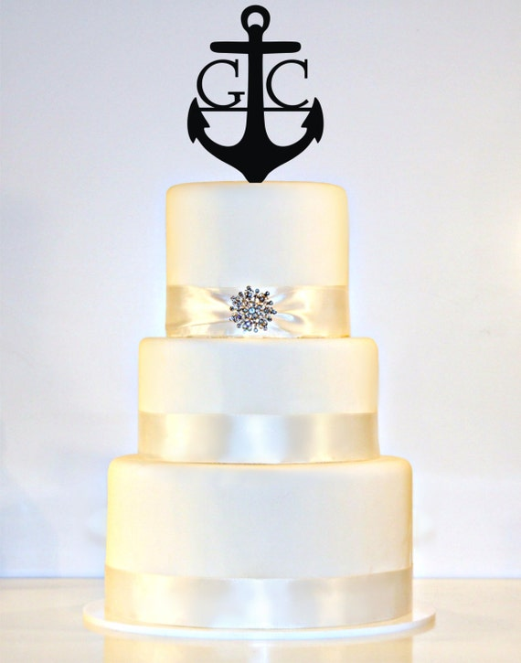 m s wedding cake toppers anchor wedding cake topper monogram in any letter a b c d e f 17647
