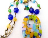 Colorful Fused Glass Pendant Necklace, Bright Multicolored Necklace, Blue Yellow Green Lavender Pendant, Vivid Color, Handmade Fused Glass