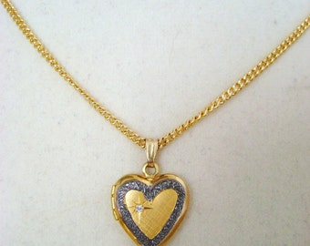 "Vintage Gold Filled Small Heart Locket with  Rhinestone Star 18"" GF Chain"