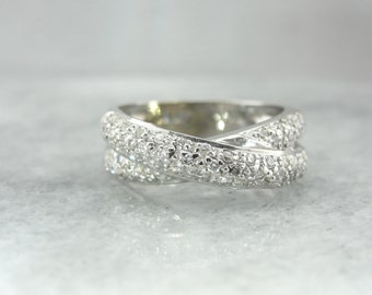 Double White Gold Wedding Band with Pave Diamonds 0AFQR5-N