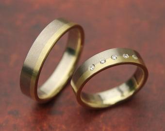 WEDDING BANDS 14k white gold & diamonds