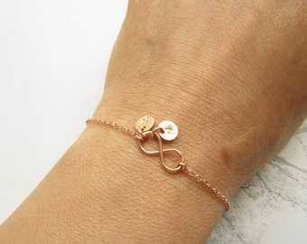 Rose Gold Bracelet, Infinity Bracelet, Rose Gold Initial Bracelet, All Rose Gold Filled