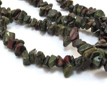 Dragons Blood Jasper, 36 inch Strand Red Jasper Beads, Green Jasper Gemstone Chips, Item 157gs