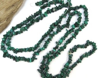 Malachite Chips, Dark Green Mini Malachite Chips, 36 inch Gemstone Strand, Designer Quality, Item 185gss