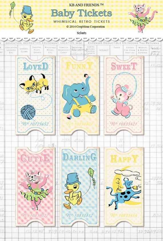 Digital retro baby tickets / vintage animals / ephemera collage sheet / three sizes / downloadable, printable / pastels, polka dots, gingham