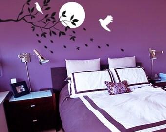 Birds Flying stencils, Bedroom Wall Stencils, Moon and Birds Stencils