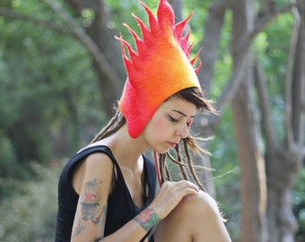 Furry Flame Felt hat Cosplay party costume Fire design Hades Burning hat Fire color gift Theather costume Unique gift ideas for girlfriend