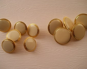 BUTTONS:  Off white and gold blazer buttons, 2 sizes, set of 6.