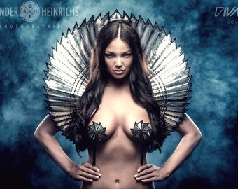 apocalyptic goddess bolero sci fi robot futuristic stole steampunk shrug cybergoth wrap armor fetish egyptian divamp couture