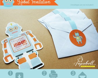 Robot invitation for robot birthday party. Personalized printable for babies or little boys. Color of pastel blue & orange.