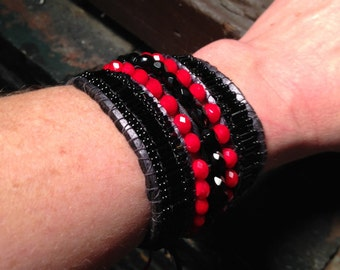 Bracelet: Black Onyx and Flame Red Crystal Beadwoven