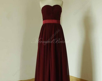 Burgundy a line Prom Dress/ Evening Gown/ Full-length party dress with elegant pleated sweetheart