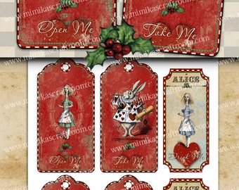 Christmas Alice in Wonderland Tags on Digital Collage Sheet Printable Christmas decor prints Christmas downloads, paper craft, labels, print