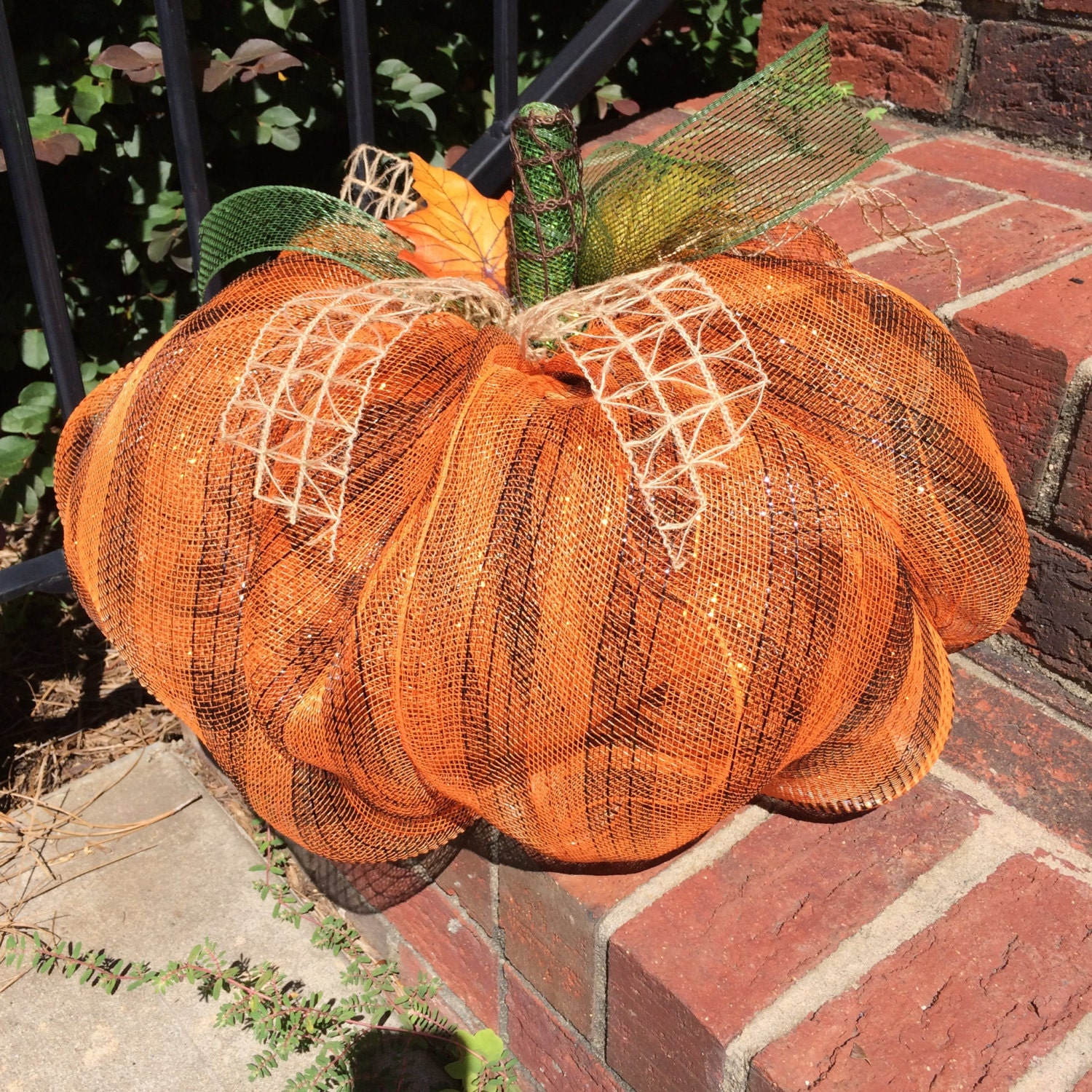 Fall pumpkin centerpiece deco mesh by snappypea
