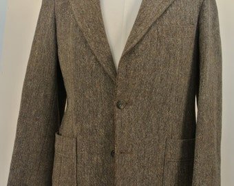 Vintage 1970s Magee Donegal Cloth Brown Flecks 38 S 100% Wool Sport Coat