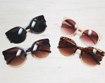Vintage Inspired Oversized Circle Cat Eye Sunglasses