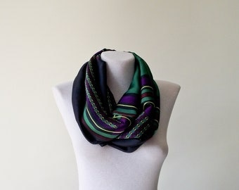 Boho Satin Scarf, Green Purple Infinity Scarf, Geometric Loop Scarf, Christmas Gift, Women Circle Scarf, Wholesale Scarves, Designscope