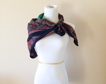 Italian Silk Multi Colored Vintage Scarf by Symphony Scarfs