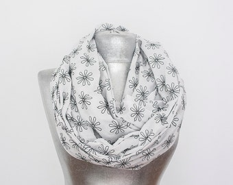 Embroidered Scarf Infinity Scarf Daisy Scarf Flower Scarf White Scarf Floral Scarf  Spring Scarf Women Scarf Cotton Scarf For Her