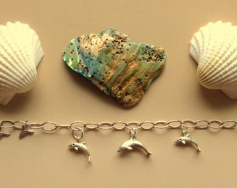 Sterling Silver Dolphins Charm Chain Bracelet - Seven Silver Dolphins