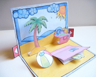 Day at the beach: DIY Pop Up Card & Envelope Set. Greeting card/invitation with blank, hidden note! Printable PDF for instant download