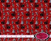RED & BLACK CAT Fabric by the Yard Half Yard or Fat Quarter Cats Fabric Heart  Fabric Pet Fabric Apparel 100% Cotton Quilting Fabric w5-19
