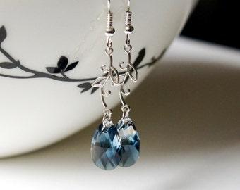 CLEARANCE Montana Blue Swarovski Earrings, Swarovski Earrings, Crystal Earrings, Blue Earrings, Sterling Silver Earrings, Leaves Earrings