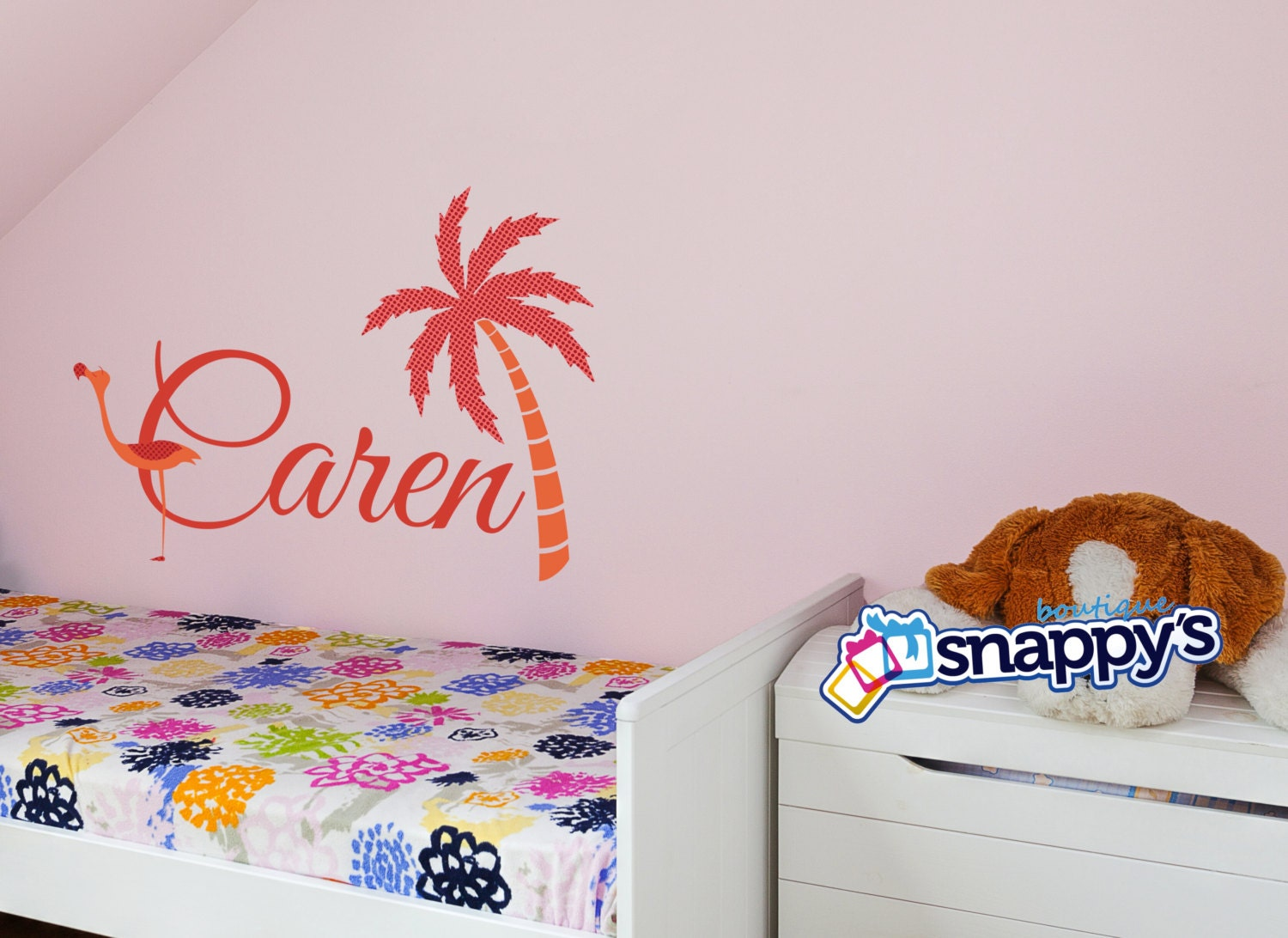 Wall decals stickers snappys boutique flamingo monogram wall decal amipublicfo Gallery