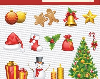 Christmas Clipart. Christmas Digital Clipart. Christmas Tree, Christmas Gift, Snowman.. Digital Images. Christmas Illustration 238