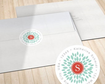 Personalized Return Address Labels // Envelope Seals // Teal Blooming Blossom with Monogram // S100