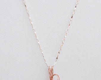 Wire Wrap Form Folded Copper Necklace