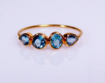25% OFF Blue Topaz 14K Gold Gemstone Band, Yellow, White, or Rose Gold, Made to Order