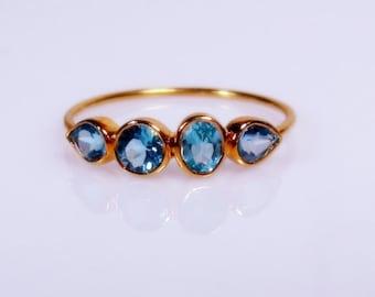 Swiss Blue Topaz Gemstone Ring, Sterling Silver ~ Made to Order, gemstone band, 14k rose, yellow, white gold