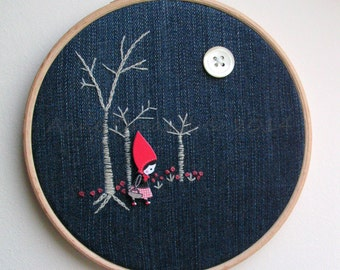 MADE TO ORDER Embroidery Hoop Art red riding hood fairytale (as featured in Hoopla! magazine).